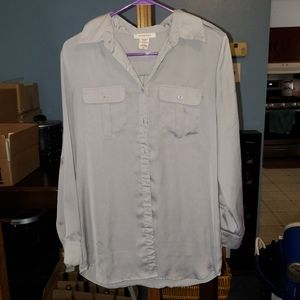Silver Soft Button Up Blouse